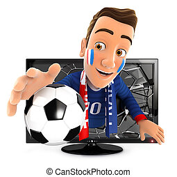 3d french soccer fan coming out of television, isolated...