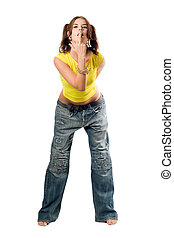 Naughty girl in wide jeans and yellow top. Isolated on white