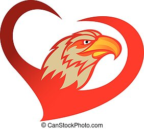 red heart eagle  - logo for illustration