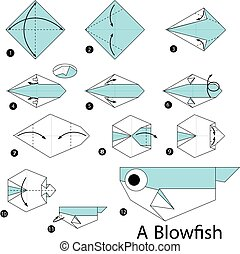 origami A Blow fish. - Step by step instructions how to make...