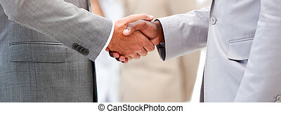 Close-up of a business agreement by shaking hand in the...
