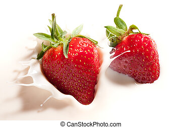 fresa, caído, yogur