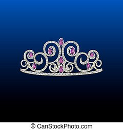 Diamond tiara with pink stones.