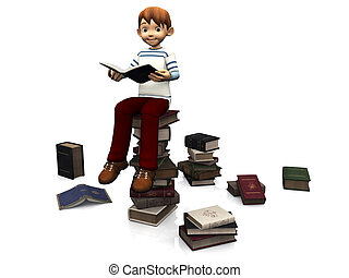 Cute cartoon boy sitting on a pile of books.