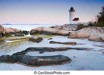 Lighthouse at dawn off Anisquam, Massachusetts