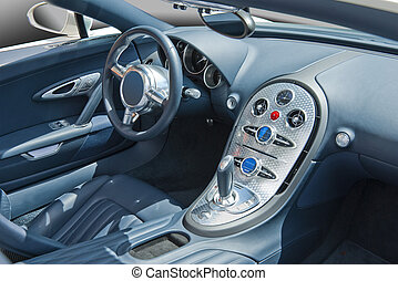 Sports car cockpit - Sports car interior in blues and turned...