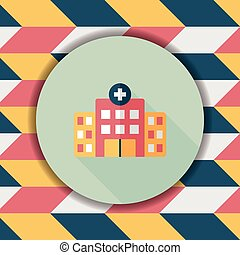 building hospital flat icon with long shadow,eps10