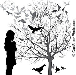 A girl admires the birds - Illustrations girl looks at a...
