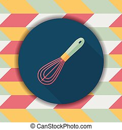 kitchenware beater flat icon with long shadow,eps10