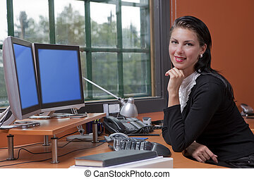 Attractive Young Businesswoman Smiling - An attractive young...