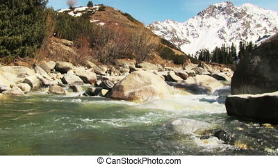 Mountain river - Spring landscape with mountain river