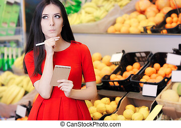 Curious Woman in The Supermarket - Young girl in a market...