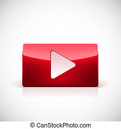 Play button, red glossy button with white triangle turned...