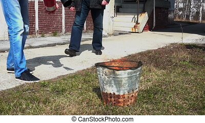 Man using fire extinguisher - NOVOSIBIRSK, RUSSIA - April...
