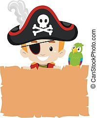 Pirate Kid holding blank Papyrus - Vector Illustration of...