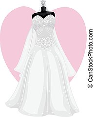 white Wedding Dress - Vector Illustration of Wedding Dress