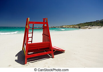Camps Bay beach, Cape Town South Africa - Red safeguard...