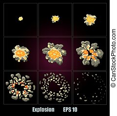 Explosion, cartoon explosion animation frames for game....