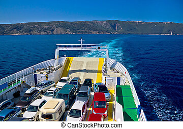 Ferry boat tourist line to island, island of Cres, Croatia