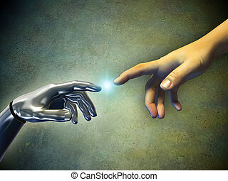 Hands touching - Human hand touching an android hand Digital...