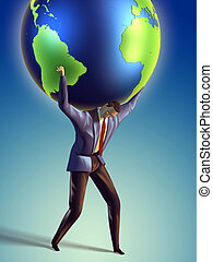Earth lifting - Businessman takes the Earth on its...