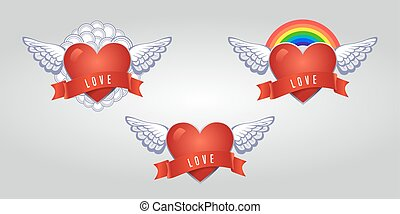 Hearts set vector. Heart with wings