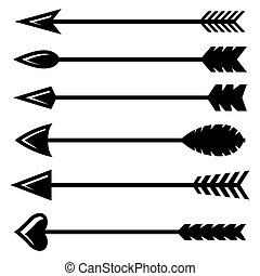 Vector black bow arrow icons set on white background