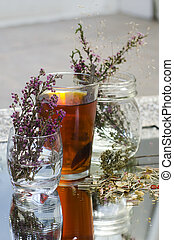 Tea infusion with loose leaf tea - Cup of tea made from...