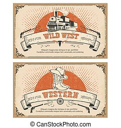 Vintage frame western cards.Vector illustration - Vintage...