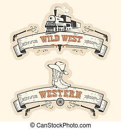 Vintage western and wild west labels isolated on white for...