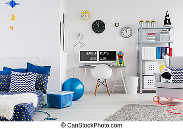 Bedroom full of space accents - Shot of a modern creative...