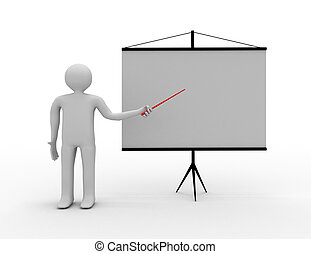 3d people - men, person presenting a blank board Leadership...