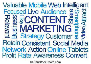 Content Marketing Word Cloud on White Background