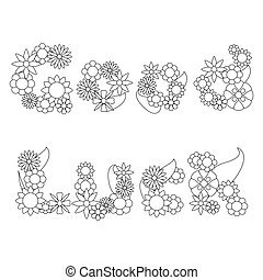 Good Luck words by  flowers vector ornament for coloring
