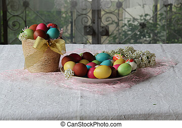 painted eggs in a basket on the table