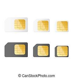 Mini, micro, nano sim cards in black and white color. Vector...