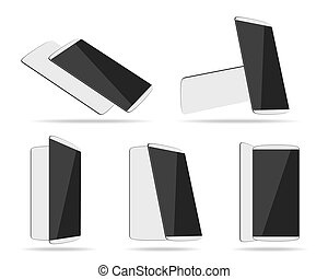 White smartphones face with back different foreshortening