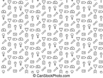Technical tools seamless background. Vector illustration....