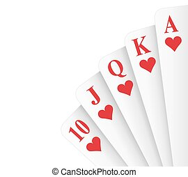 Royal Flush Hearts - Hearts suit royal flush poker hand...