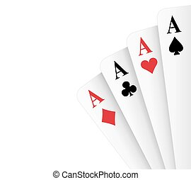 Four Aces Poker Hand - Four of a kind aces poker hand vector...