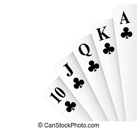 Royal Flush Clubs - Clubs suit royal flush poker hand vector...