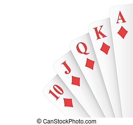 Royal Flush Diamonds - Diamonds suit royal flush poker hand...