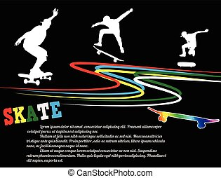 Skateboarding poster background with players silhouette on...