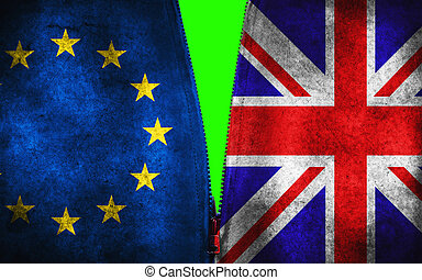 brexit half blue european union EU and half great britain flag on grounge jacket with zip, with chroma green screen