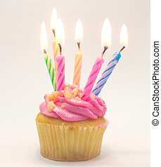 Pink Birthday cupcake with candle lighting
