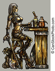 Heroine in the tavern - Fantasy illustration warrior woman...
