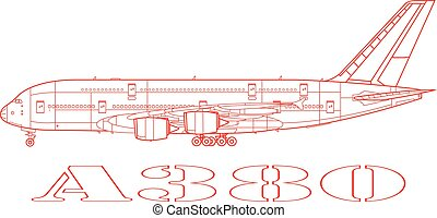 A380, a commercial passenger airplane.