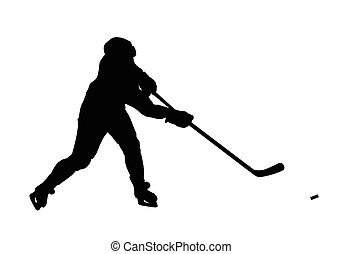 Ice hockey player vector silhouette. Hockey player shoots...