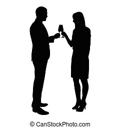Business man and woman celebrating with a glass of champagne. Vector silhouettes of a young couple who toasts to the birthday celebration, success, anniversary