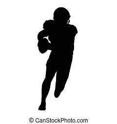 American football player, vector isolated silhouette. Running football player